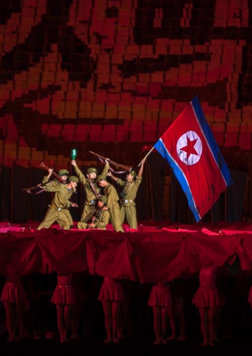North Korean military battle during the Arirang mass games in may day stadium, Pyongan Province, Pyongyang, North Korea