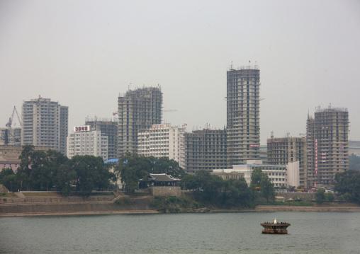 Pyongyang skyline with Taedong river, Pyongan Province, Pyongyang, North Korea