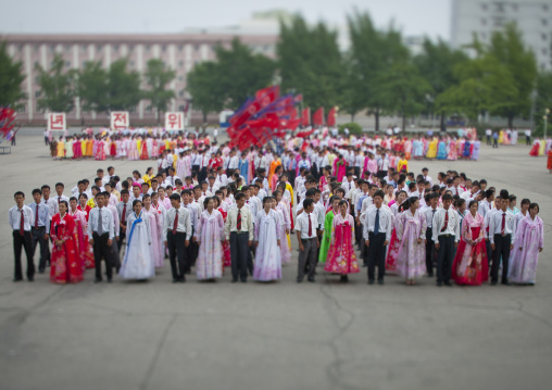 North Korean students before a mass dance performance on september 9 day of the foundation of the republic, Pyongan Province, Pyongyang, North Korea