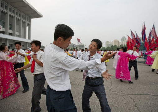 North Korean students during a mass dance performance on september 9 day of the foundation of the republic, Pyongan Province, Pyongyang, North Korea