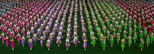 North Korean gymnasts performing during Arirang mass games in may day stadium, Pyongan Province, Pyongyang, North Korea