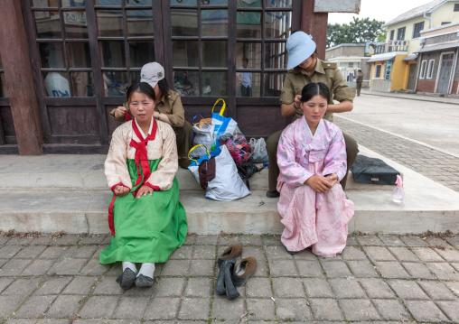 Actresses make-up during a movie shooting in Pyongyang film studios, Pyongan Province, Pyongyang, North Korea