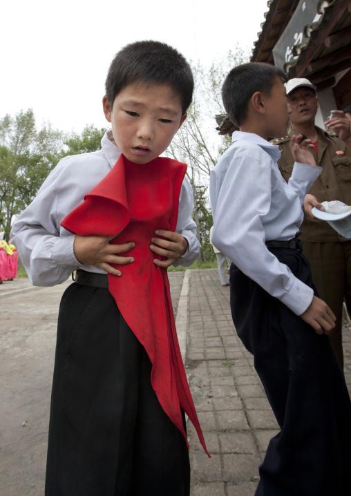 North Korean young actors during a movie shooting in Pyongyang film studios, Pyongan Province, Pyongyang, North Korea