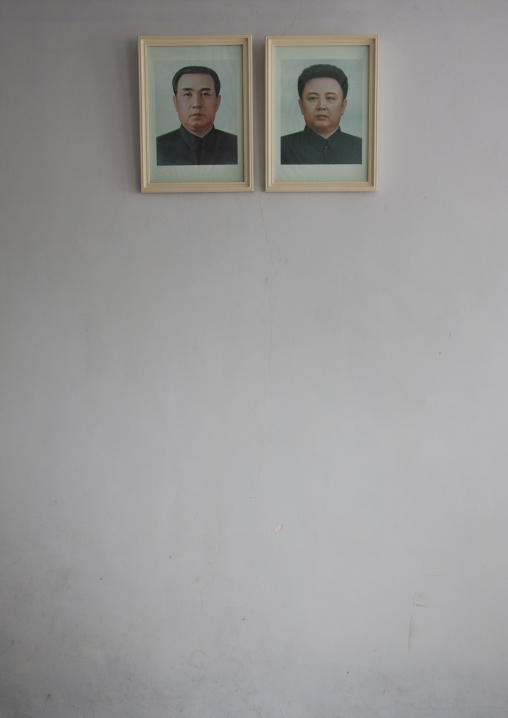 Official portraits of Kim il Sung and Kim Jong il, North Hwanghae Province, Panmunjom, North Korea