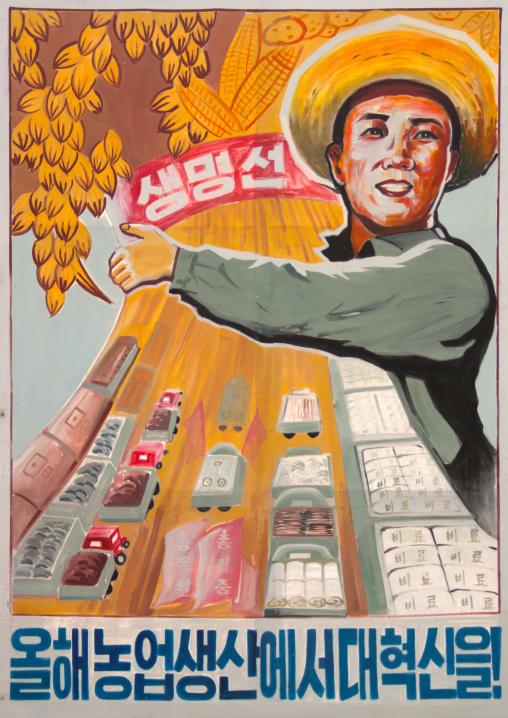 North Korean propaganda billboard depicting a happy farmer, South Pyongan Province, Chongsan-ri Cooperative Farm, North Korea
