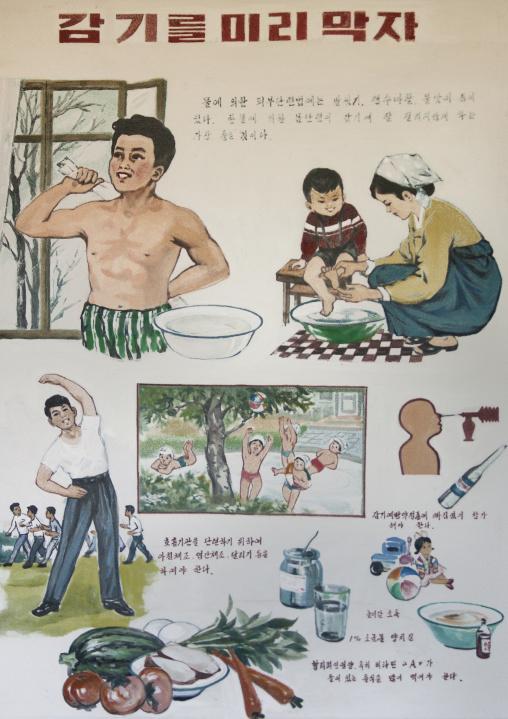 Health advice and information poster in a village, South Pyongan Province, Chongsan-ri Cooperative Farm, North Korea