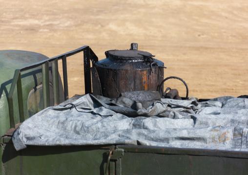 Barrel of a North Korean truck running on gasified wood, South Pyongan Province, Chongsan-ri Cooperative Farm, North Korea