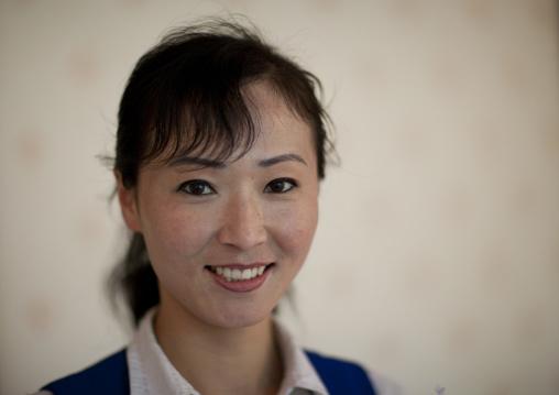 Portrait of a smiling North Korean woman, North Hwanghae Province, Kaesong, North Korea