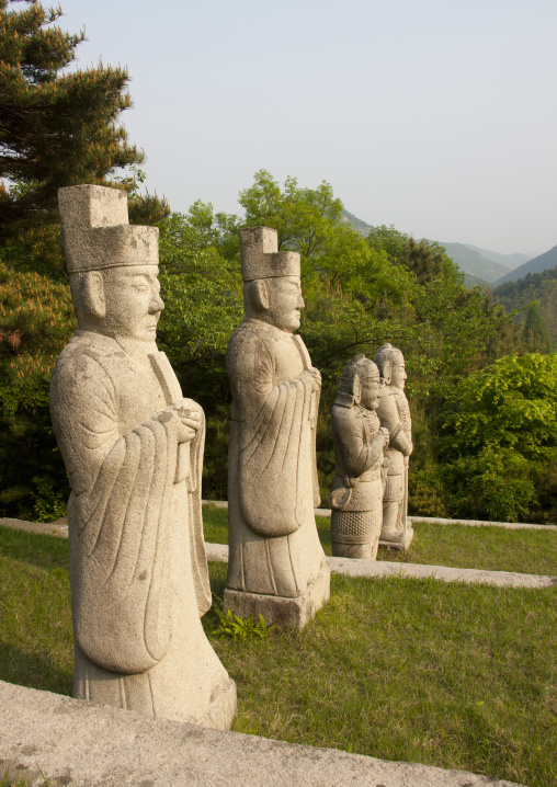Guards statues near the tomb of king Kongmin and his queen, North Hwanghae Province, Kaesong, North Korea