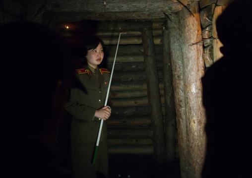North Korean guide called miss Kim in the victorious fatherland liberation war museum, Pyongan Province, Pyongyang, North Korea
