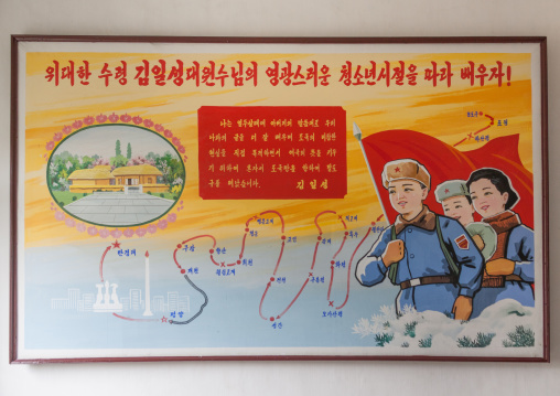 North Korean propaganda billboard about Mangyongdae house the traditional birthplace of Kim il Sung and his childhood, Pyongan Province, Pyongyang, North Korea