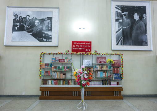 Books offered by the Kim Jong-il in the Grand people's study house, Pyongan Province, Pyongyang, North Korea
