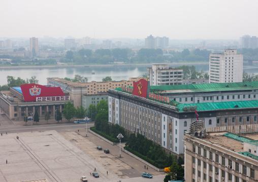 High angle view of Kim il Sung square, Pyongan Province, Pyongyang, North Korea