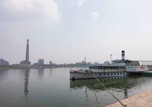 Ship restaurant on Taedong river in front of the Juche tower, Pyongan Province, Pyongyang, North Korea