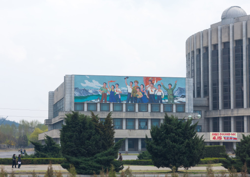 Giant fresco depicting North Korean people on an official building, Pyongan Province, Pyongyang, North Korea