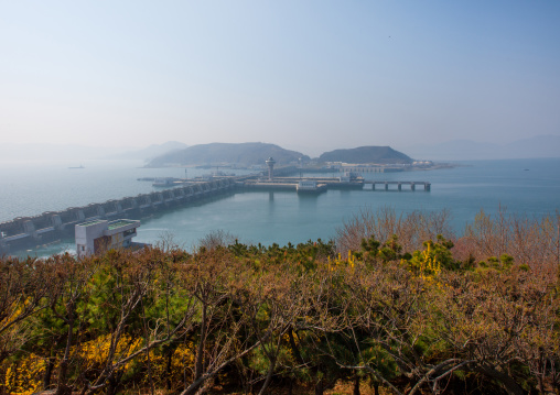 West sea barrage which separates the Taedong river and the west sea, South Pyongan Province, Nampo, North Korea