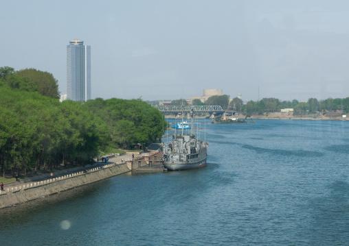 Uss Pueblo ship on Taedong river, Pyongan Province, Pyongyang, North Korea