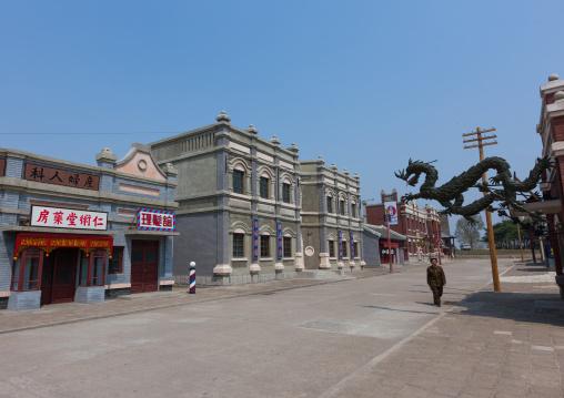 Chinese town set for historic movies in the Pyongyang film studio, Pyongan Province, Pyongyang, North Korea
