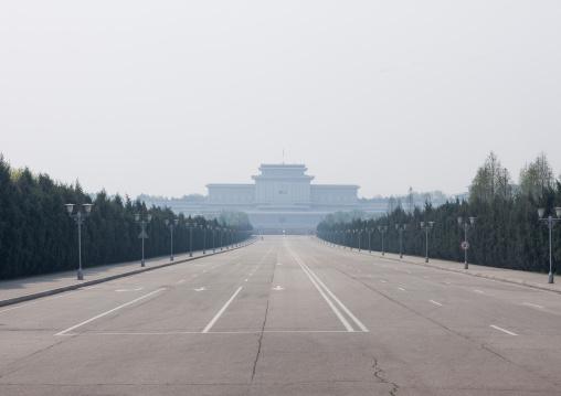 Road leading to Kumsusan memorial palace, Pyongan Province, Pyongyang, North Korea
