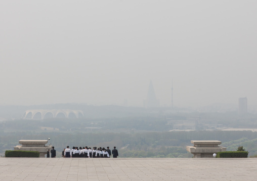 North Korean people going to Taesongsan revolutionary martyr's cemetery, Pyongan Province, Pyongyang, North Korea