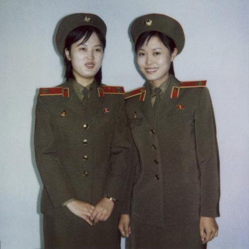 Polaroid of North Korean guides at the victorious fatherland liberation war, Pyongan Province, Pyongyang, North Korea