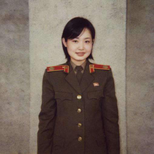 Polaroid of a North Korean guide called Kim at the victorious fatherland liberation war museum, Pyongan Province, Pyongyang, North Korea