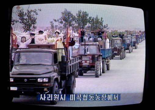 Agricultors parading on the North Korean television, Pyongan Province, Pyongyang, North Korea