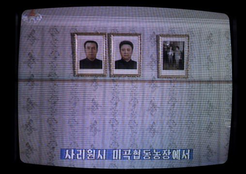 Portraits of the Dear Leaders on the North Korean television, Pyongan Province, Pyongyang, North Korea