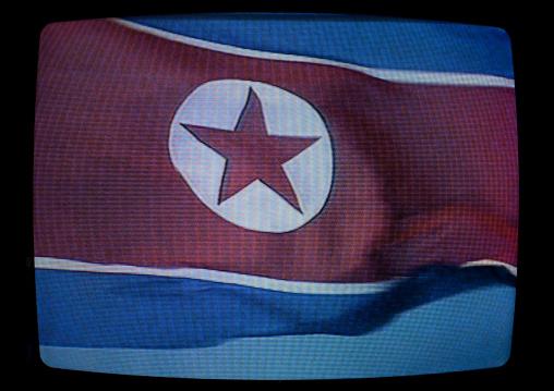 North Korean flag on a television screen, Pyongan Province, Pyongyang, North Korea