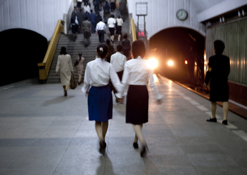 North Korean friends in the subway, Pyongan Province, Pyongyang, North Korea