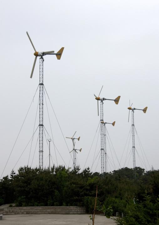 Wind turbines on a hill, South Pyongan Province, Nampo, North Korea