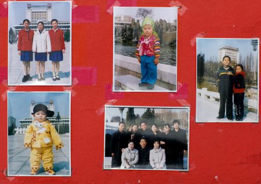 Samples of North Korean souvenir pictures to promote a photo studio, Pyongan Province, Pyongyang, North Korea