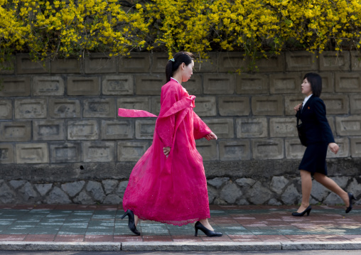 North Korean women with traditional and modern clothes in the street, Pyongan Province, Pyongyang, North Korea