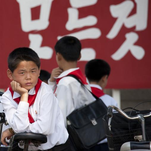 North Korean pioneers boys in front of a school, North Hwanghae Province, Kaesong, North Korea