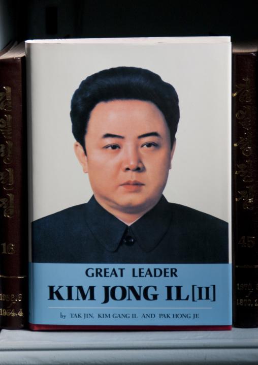 Kim Jong il book in a North Korean library, Pyongan Province, Pyongyang, North Korea