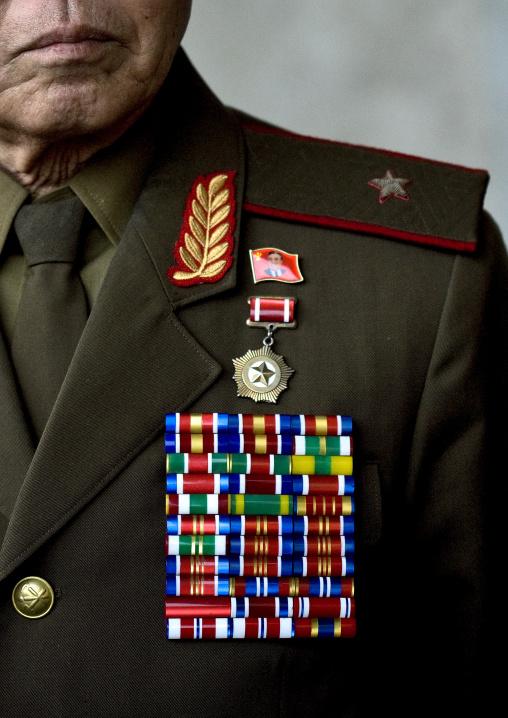 Portrait of a North Korean war veteran called general Pak Shan Su wearing medals, Pyongan Province, Pyongyang, North Korea
