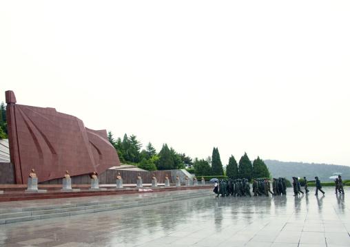 Giant stone flag of the Taesongsan revolutionary martyr's cemetery, Pyongan Province, Pyongyang, North Korea