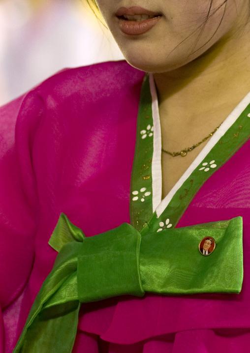 North Korean woman in traditional choson-ot, Pyongan Province, Pyongyang, North Korea