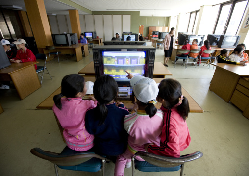 North Korean children playing video games in Songdowon international children's camp, Kangwon Province, Wonsan, North Korea