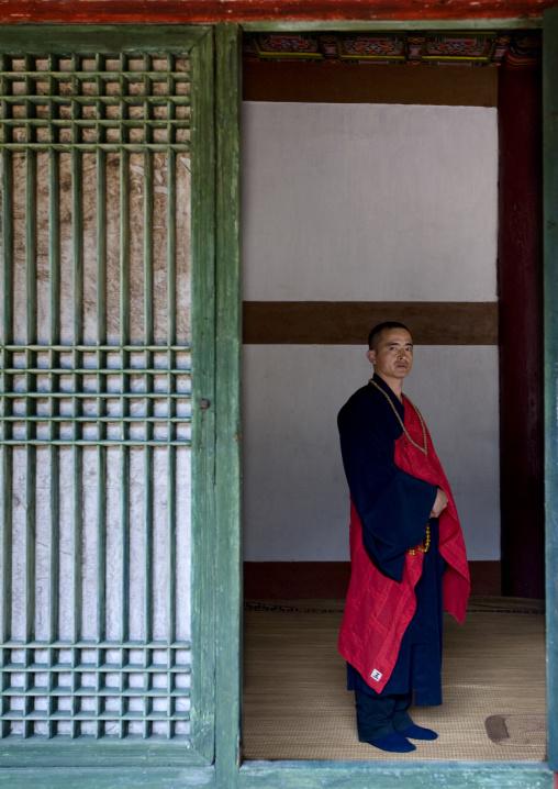 North Korean monk in Pohyon-sa Korean buddhist temple, Hyangsan county, Mount Myohyang, North Korea
