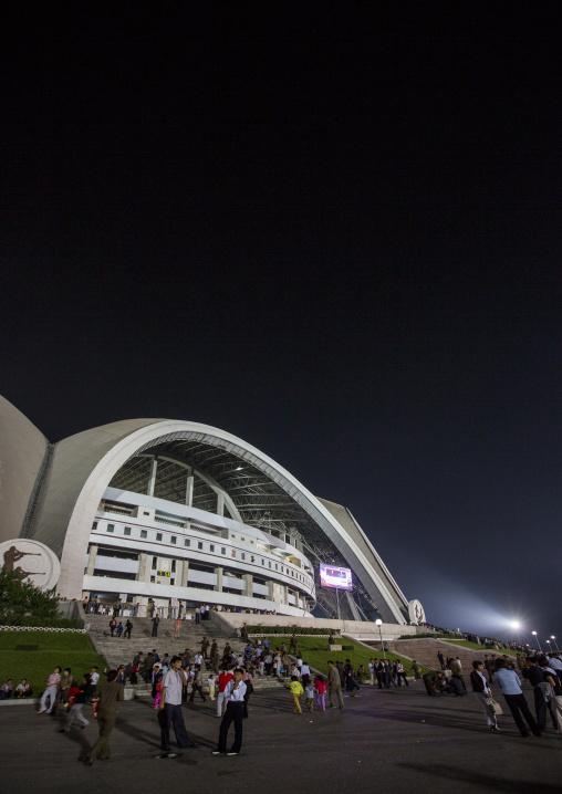 May day stadium by night after the Arirang mass games, Pyongan Province, Pyongyang, North Korea