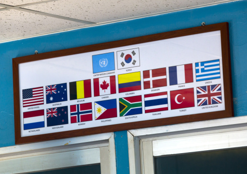 Flags of the Nations in charge of the conference room in the Demilitarized Zone, North Hwanghae Province, Panmunjom, North Korea