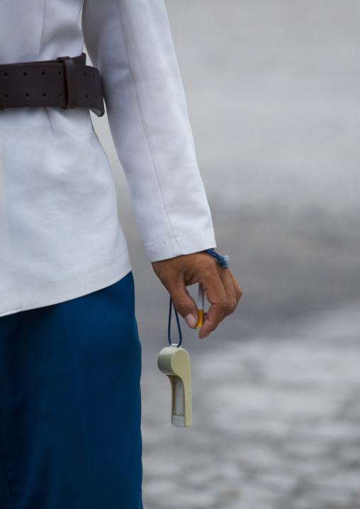 North Korean male traffic security officer in white uniform in the street, North Hwanghae Province, Kaesong, North Korea