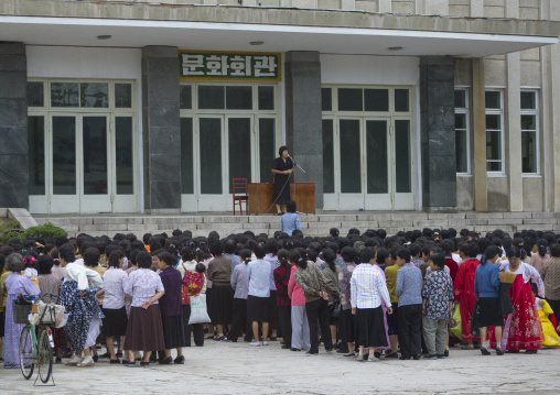 Women meeting in front of an official building, North Hwanghae Province, Kaesong, North Korea