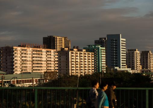 City buildings in the sunset light, Pyongan Province, Pyongyang, North Korea