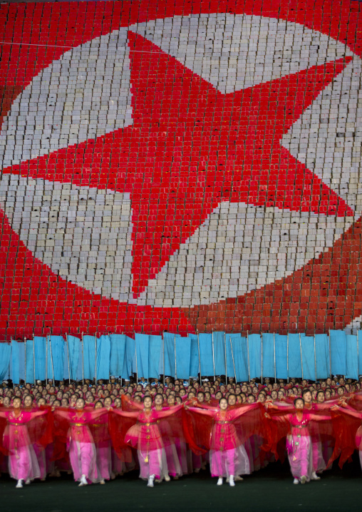 North Korean flag made by children pixels holding up colored boards during Arirang mass games in may day stadium, Pyongan Province, Pyongyang, North Korea