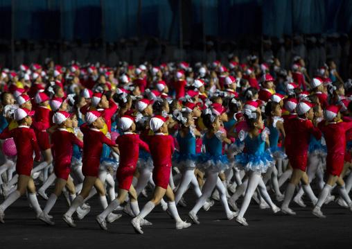 North Korean children performing during the Arirang mass games in may day stadium, Pyongan Province, Pyongyang, North Korea