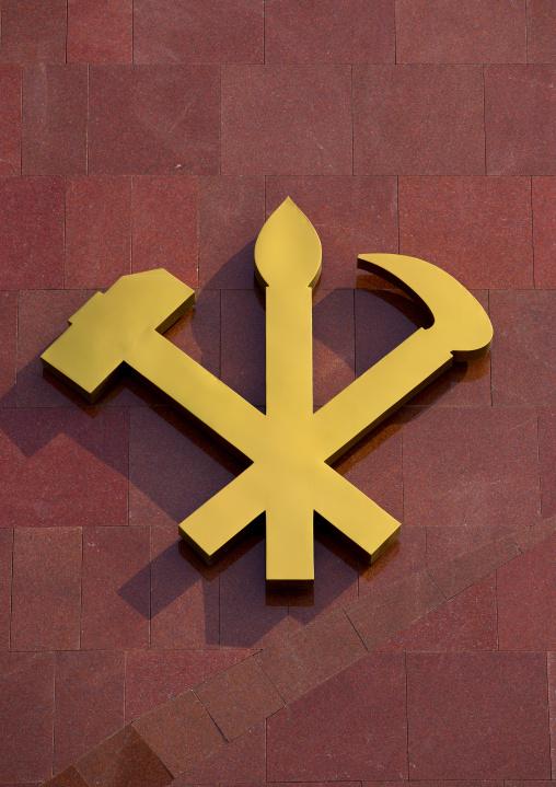 The workers' Party of Korea logo, Pyongan Province, Pyongyang, North Korea