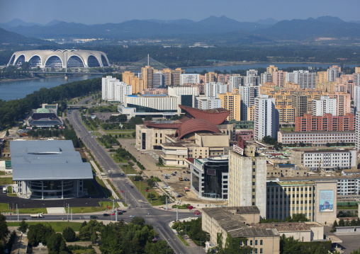 Buildings and stadium seen from the top of the Juche tower, Pyongan Province, Pyongyang, North Korea