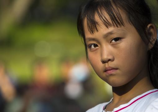 Portrait of a North Korean girl, Pyongan Province, Pyongyang, North Korea